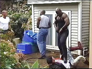Nasty scene with three black men piss on white assholes