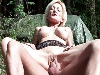 Busty blonde granny gets fucked by a young Boy