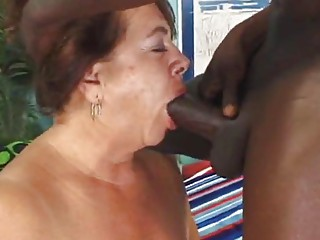 Fat ass granny gets slammed by one monster black cock