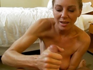Handsome blonde mom gobbles up a fat rod in POV