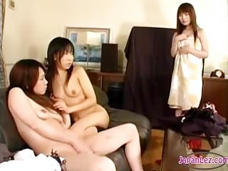 Asian Girl Getting Her Nipples Sucked By 2 Girls Fucked With Strapon On The Couch