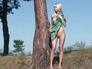 18yo blonde Loly stripping in forest