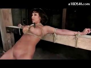 Busty Girl Tied To Timber Getting Her Mouth And Pussy Fucked With Dildo Nipples Tortured With Clips Whipped In The Dungeon