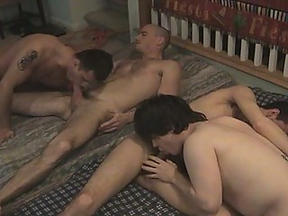 Horny Gay Two On Two Anal Action