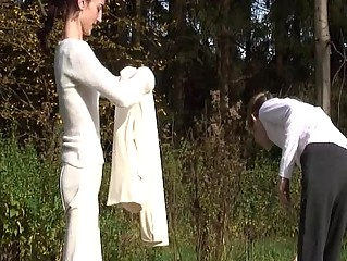 Anorexic babes posing outdoor