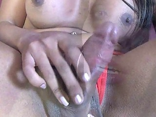 Horny Tranny Works Her Cock