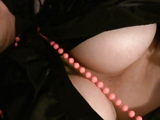 MILF with Big Tits in Satin Masturbates Solo