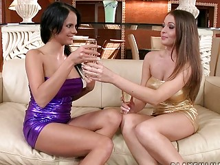 Lusty big titted lesbian vixens having wild sex