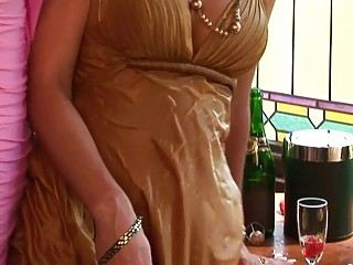 Busty and classy MILF ladies spill wine on their bodies