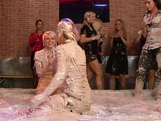 Hot blonde bitches wrestle in their clothes