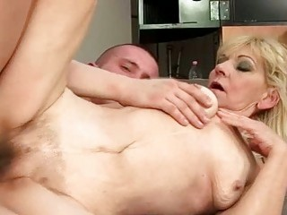 Granny with hairy pussy getting fucked