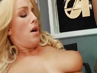 Busty blonde babe gets her pussy eaten out by pervert
