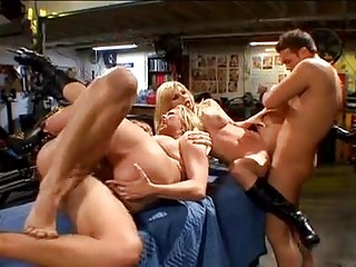Briana Banks and Angie Savage get slot stretched by two ramming cock rods