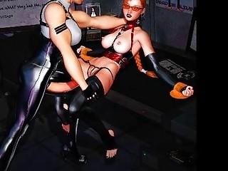 3D Big Dicked Lesbian Futanari Babes