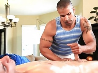 Black stud receives his dong rubbed and stroked