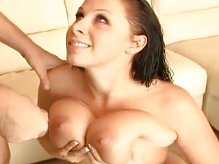 Sexy Gianna Michaels gets banged and takes huge cumblast on her busty boobs