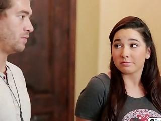 Busty milf educates a cute brunette teen in a threesome