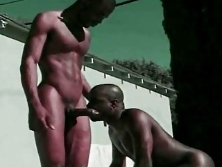 Gay Black Lovers Hardcore Anal by the Pool