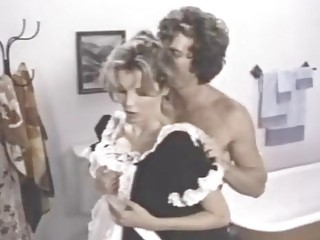 Vintage blonde maid rides a hard cock in the bathtub