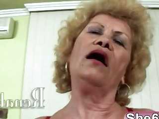 Blonde granny big tits reverse cowgirl blowjob