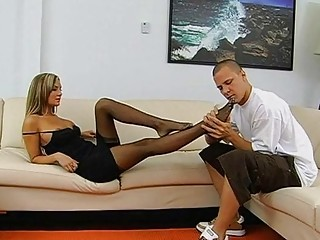 Footjob is about to end up with sex cream