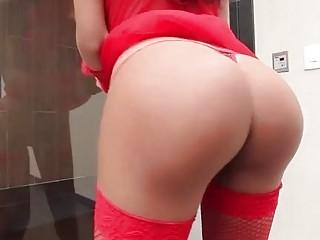 Ladyboy works on her boner using wicked fingers