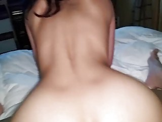 Bulky Vietnamese chick bounces on thick pike reverse cowgirl POV