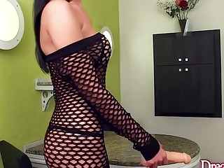 Super cute shemale Mariana Lins play with a big dildo