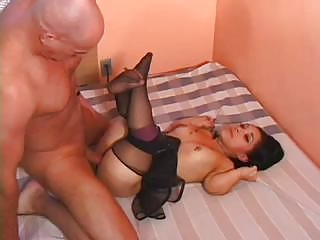 Sexy little midget chick bangs wildly with a bald hunk