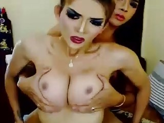 Gorgeous Shemale Sucking A Huge Dick shemale coupl