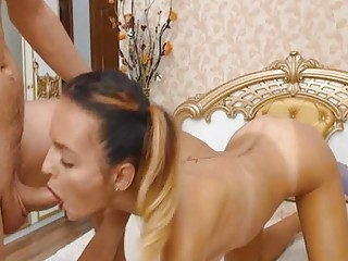 Lucky Guy Gets Her Cock Sucked By This Hottie Babe