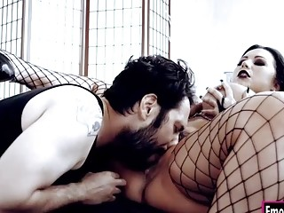 Busty goth Sheridan gets her pussy rammed