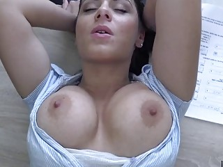 Babe With huge tits gets fucked hard on office desk