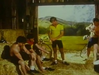 Vintage gangbang on farm