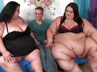 Huge SSBBWs Apple Bomb and Lola Lovebug Share a Skinny Guys Cock
