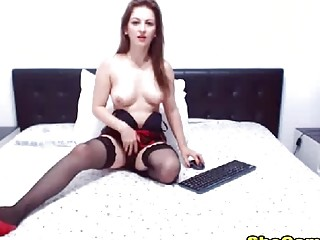 Super Gorgeous Shemale jerking her big cock