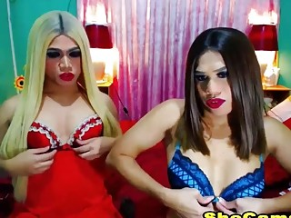 Two Exotic Shemale Beauty Naked On Cam