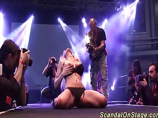 big boob german milf toying on public stage
