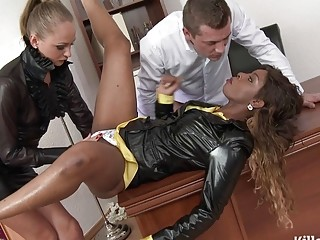 Ebony office slut and her partner have fun with threesome