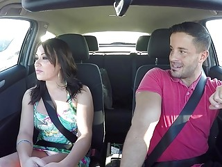 Busty Latina fucked in the car in every possible position