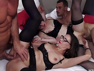 Amazing group sex with two sexy babes and old dudes