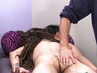 Twink is in doggy style position as his master jerks him off