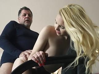 Teen on her knees sucking on grandpa cock deepthro