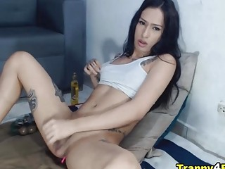 Gorgeous Tranny Making Her Cock Hard