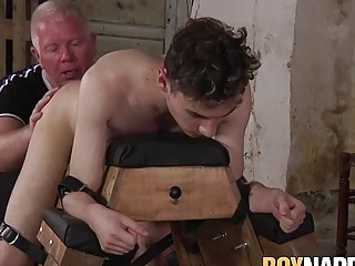 Old man bounds young dude and then punishes him with anal