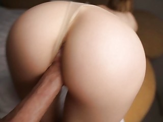 Skinny amateur MILF is pounded doggy style through her panties