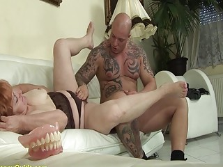 crazy 74 years old toothless mom fucked