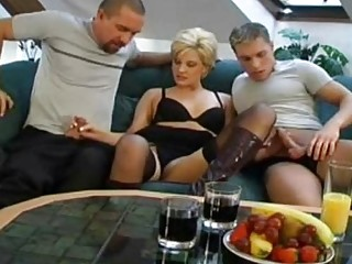 Shorthaired German Blonde 3some In